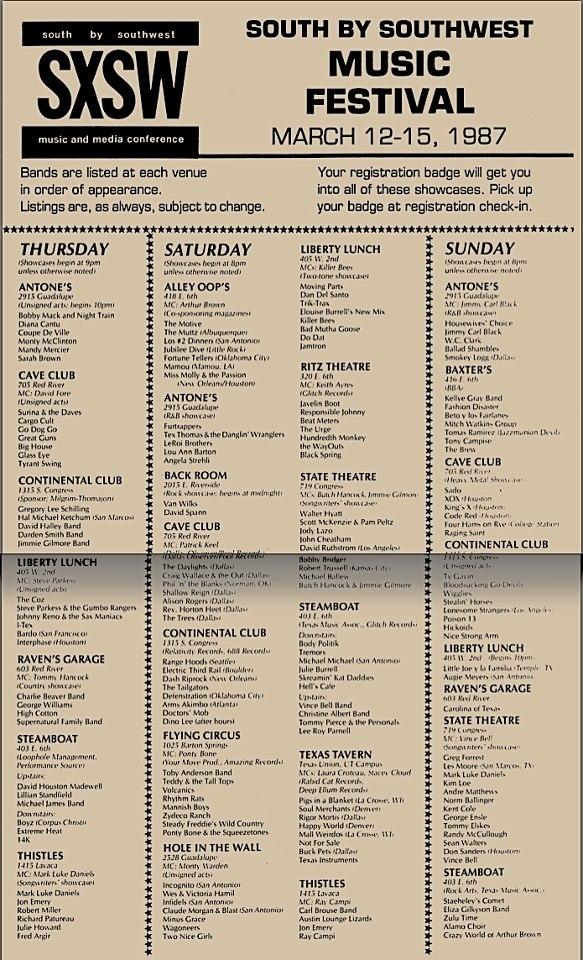 sxsw 1987 lineup