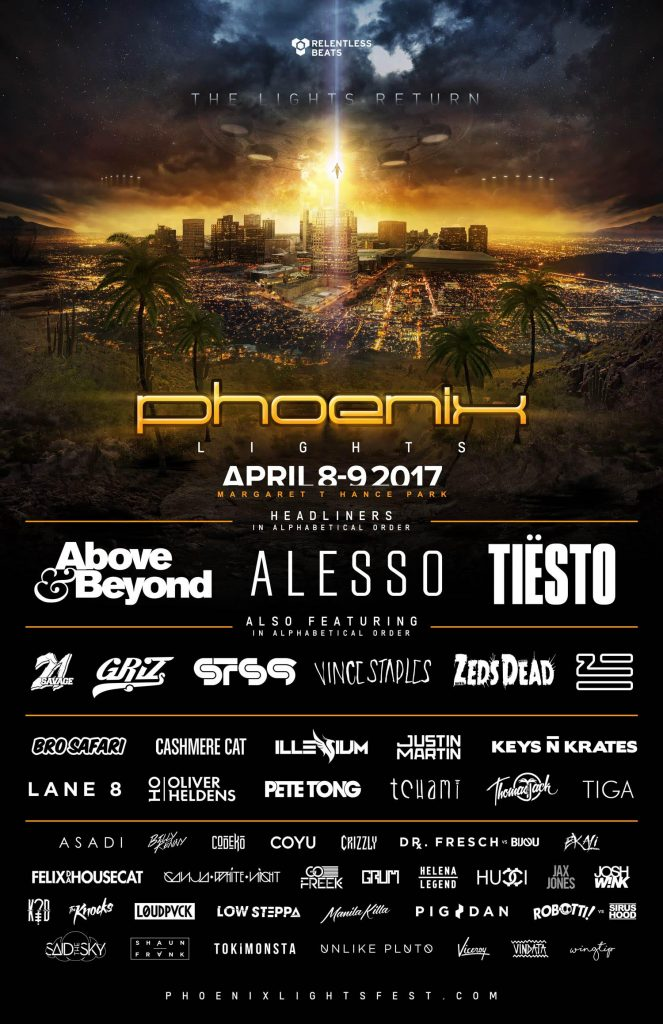 PHOENIX LIGHTS FESTIVAL ANNOUNCES COMPLETE LINEUP 2017